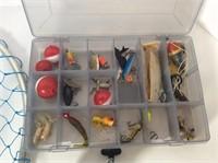 Roddy 100 Reel, Fishing Net, Box of Lures, Bobbers