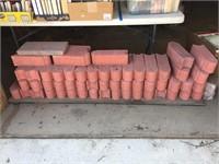 Stack of Red Brick Landscaping Edging Blocks