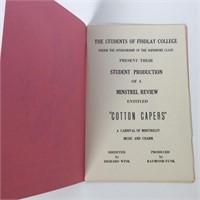 1951 Findlay College Minstrel Poster, (4) Programs