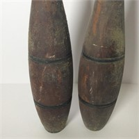 2 Antique Wood Juggling/Bowling Pins