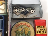 Lot of Misc. Sewing, Vintage Tins