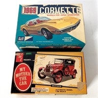 (2) Vintage Model Kits, 69 Corvette, AMT  Mother