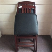 2 Wood Folding Chairs with Vinyl Upholstered Seats
