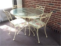 White Iron & Glass Patio Table with 4 Chairs