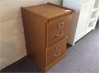 Two Drawer Oak File Cabinet