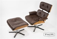 Eames Style Lounge Chair with Ottoman