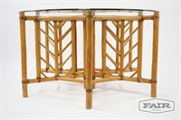 McGuire Style Rattan Table with Glass Top