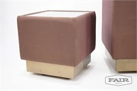 Upholstered Glass Top Rolling End Table Set