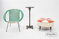 Rattan Chair, Marble Plant Stand and Ottoman