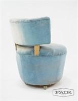 Blue Velvet Vanity Chair on Wheels