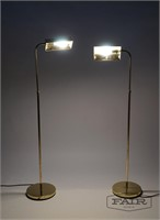 Pair of Brass Pharmacy Adjustable Floor Lamps
