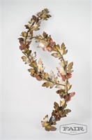 Metal Butterfly Branch Wall Sculpture, Signed