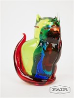 Pair of Large Multicolored Cats Murano Italy