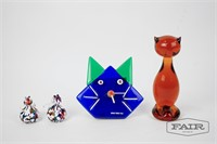 Colorful Glass Cat Lot