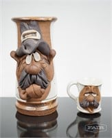 Pottery Mugs with Sculpted Faces