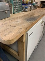 8 Foot Wooden Workbench with Vise & Extinguisher