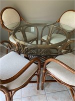 Very Nice Quality Glass and Wicker Dinette Set