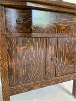 Antique Fumed Oak Washstand with Harp