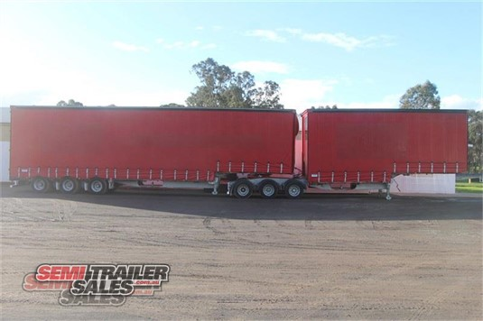 2001 Barker 34 Pallet Curtainsider B Double Set Semi Trailer Sales - Trailers for Sale