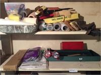 Basement Shelf Lot, Painting Supplies, Tools