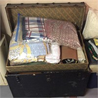 Trunk with Contents, Blankets, Linens, Rugs