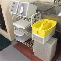 Plastic Bins, Drawers, Rolling Utility Shelf,