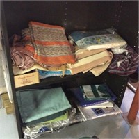 Metal Shelving with Contents, Rugs, Linens