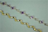 (2) GOLD & GEMSTONE WAVY LINK BRACELETS