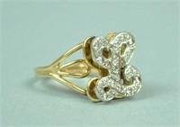 14K DIAMOND L RING & PENDANT
