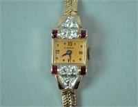 RETRO DIAMOND & RUBY ROSE GOLD BRACELET WATCH