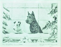 MARGUERITE KIRMSE DOG ETCHING