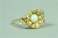 OPAL & DIAMOND FLORAL FORM RING