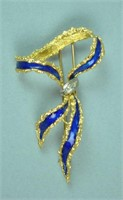 18K BLUE ENAMELED BOW CLIP PIN WITH DIAMONDS