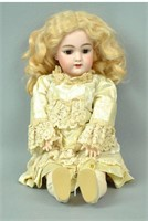 """16"""" BISQUE HEAD DOLL #109 WITH WORKING CRIER"""