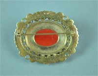 14K ETRUSCAN STYLE CORAL FILIGREE BROOCH