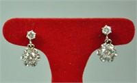PAIR DIAMOND STUD DANGLE EARRINGS, 0.80CTW
