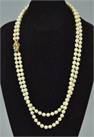 2-STRAND PEARL NECKLACE WITH GOLD CLASP