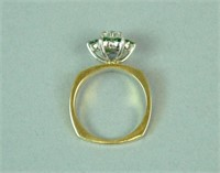 18K & PLATINUM DIAMOND & EMERALD RING