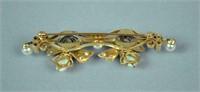 14K OPAL, DIAMOND & PEARL BUTTERFLY TREMBLER PIN