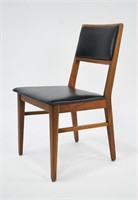 Set of 6 Walnut and Black Vinyl Dining Chairs