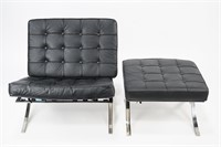 Barcelona Style Chair with Ottoman (1)