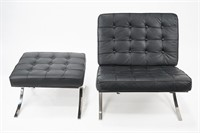 Barcelona Style Chair with Ottoman (2)