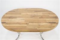 Expandable Round Wood Finish Dining Table