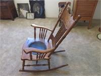 Wood & Leather Chair & Coat Rack