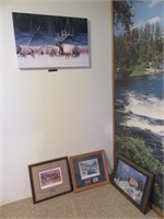 (3) Wildlife Paintings & Canvas Print of Elk Herd