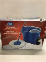 GREAT VALUE SPIN MOP& BUCKET W/FOOT PEDAL