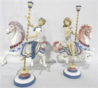 2 Lladro Boy and Girl on Carousel