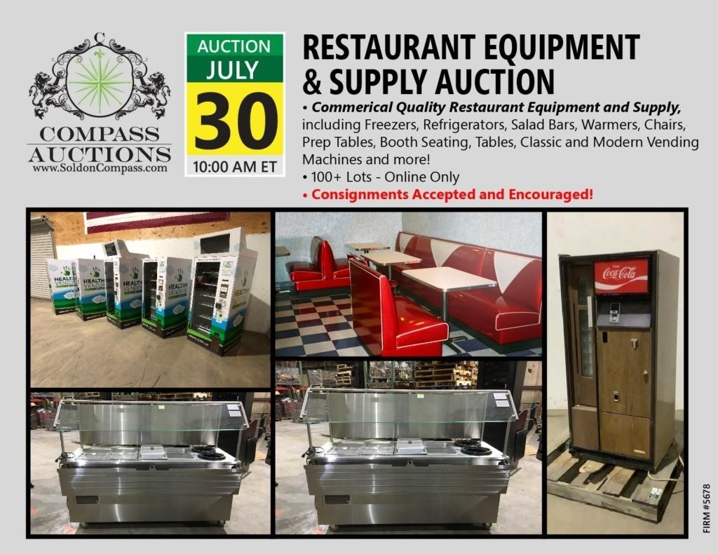 274 Lots Restaurant Equipment And Supply Auction Compass