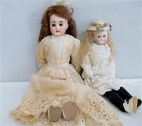 2 Bisque head dolls no marking