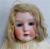 "34 1/2"" Bisque head doll, leather"